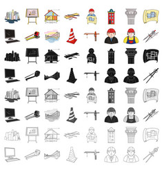 architect set icons in cartoon style big vector image