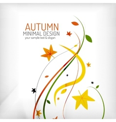 Autumn floral wave on white background vector image