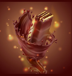 banner with chocolate waffle and splash vector image
