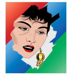 Beautiful fictional girl with ear ring vector