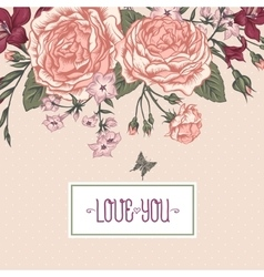 Beautiful victorian roses in vintage style for vector