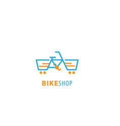 bike shop logo design vector image