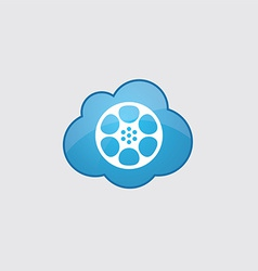 Blue cloud video film icon vector