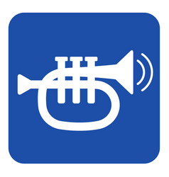 Blue white sign - trumpet and two vibration waves vector