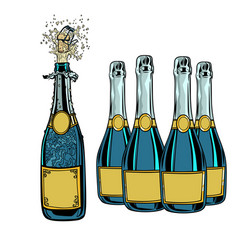 Bottle of champagne celebration holiday greetings vector