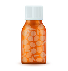 Brown medical bottle with pills vector
