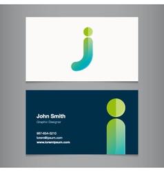 Business card letter j vector