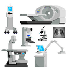 Cancer diagnosis medical equipment flat set vector