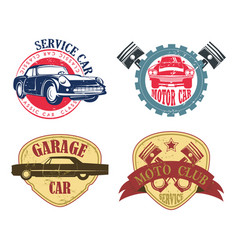 car repair or service logo garage and motor icon vector image