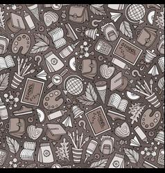 Cartoon hand-drawn back to school seamless pattern vector