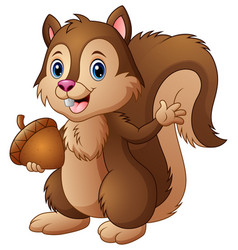 cartoon squirrel holding an acorn vector image