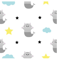 Cat mermaid fish tail head hands cloud star shape vector