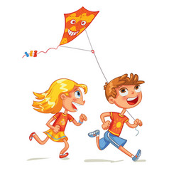Children flying a kite funny cartoon character vector