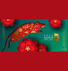 Chinese new year 2020 gold red papercut rat banner vector