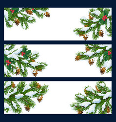 christmas tree branches in snow blank banners vector image