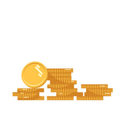 Coins stack icon flat vector