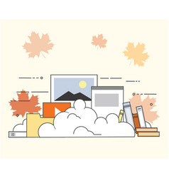Computer device data cloud storage security flat vector