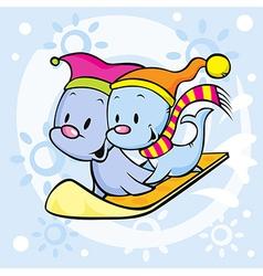 cute seal on snowboard - funny cartoon vector image