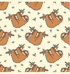 Cute sloth seamless pattern background vector