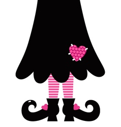 Cute Valentines Witch legs isolated on white vector image