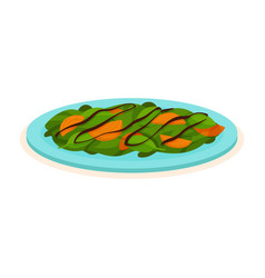 delicious salad made of spinach and persimmon on vector image