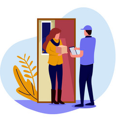 deliverers at door house deliver vector image
