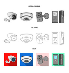 Design of cctv and camera icon set of cctv vector