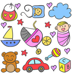 doodle of baby set design style vector image