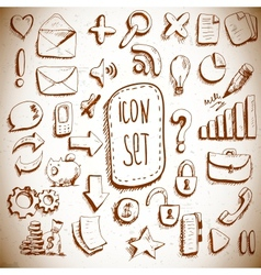 Doodle set of vintage internet icons vector image