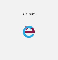 E- letter abstract icon and hands logo design vector