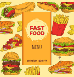 Fast food menu with premium quality colorful card vector