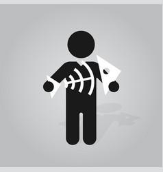 figure man holds fish bone skeleton vector image