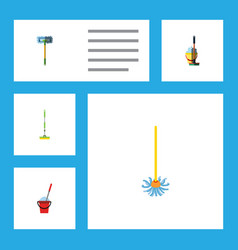 Flat icon cleaner set of bucket equipment mop vector