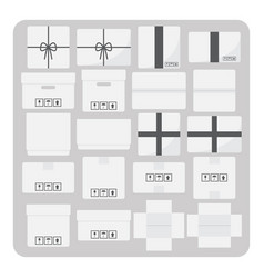 flat icons various cardboard box set vector image