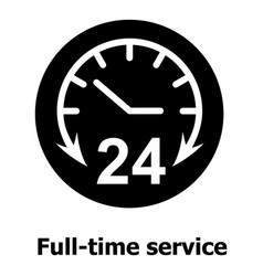 Full time service icon simple black style vector