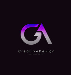 Ga letter logo design purple texture creative vector