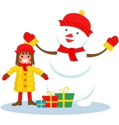 girl and snowman Christmas vector image