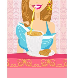 Girl is drinking delicious coffee frappe drink vector