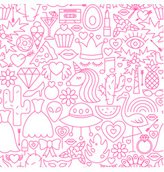 Girl power line seamless pattern vector