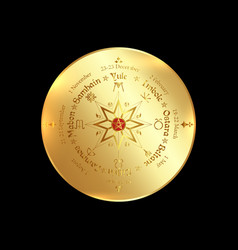 Gold wheel year solstices isolated vector