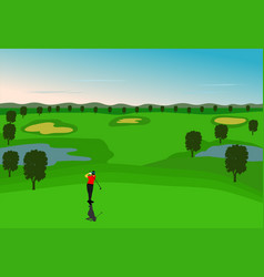 Golfers are golfing in field with mountains vector