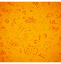 Halloween seamless bright kids doodle pattern vector image