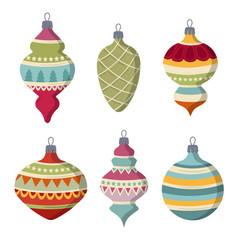 hand drawn flat christmas balls collection vector image