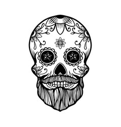 hand drawn mexican bearded sugar skull isolated vector image