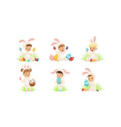 Happy easter collection cute little boys and vector