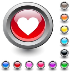 Heart round button vector