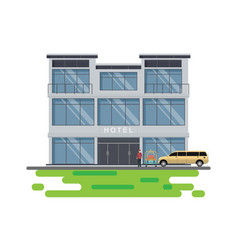 hotel building with hotel bellboy service and vector image