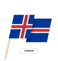 Iceland ribbon waving flag isolated on white vector