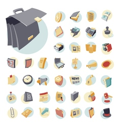icons vintage set flat business vector image
