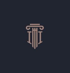 Ii initial logo monogram with pillar style design vector
